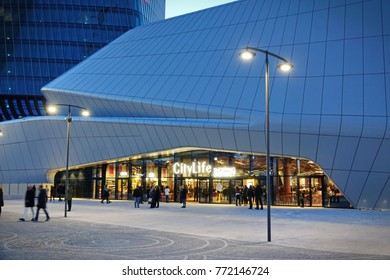 MILAN / ITALY - DECEMBER 09, 2017: The new Citylife Shopping district under the Hadid Tower