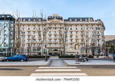 Milan, Italy - December 1, 2016: View of the Excelsior Hotel Gallia in the early morning in Milan, Italy.