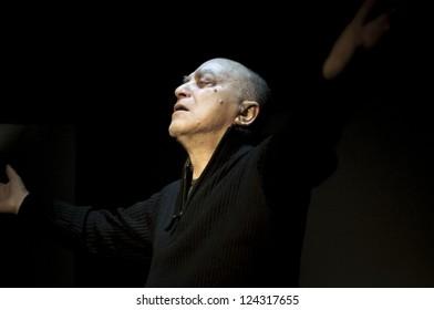 MILAN, ITALY - DECEMBER 1: Tomaso Guarino in Milan December 1, 2012. Italian actor Tommaso Guarino, recites in his theatrical opera 'Faccia Scura' at 'Teatro Officina' with Daniela Airoldi Bianchi