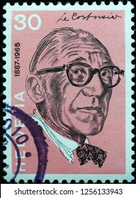 Milan, Italy – December 10, 2018: Famous architect Le Corbusier on swiss postage stamp