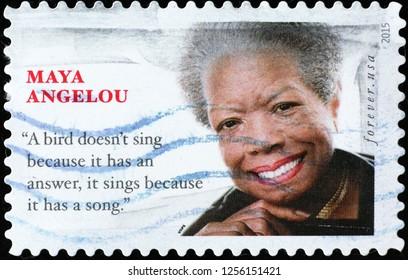 Milan, Italy – December 10, 2018: Maya Angelou on american postage stamp