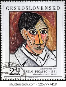 Milan, Italy – December 10, 2018: Self portrait by Pablo Picasso on postage stamp