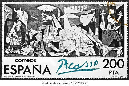 Milan, Italy - December 11, 2013: famous painting Guernica by Pablo Picasso reproduced on a spanish postage stamp