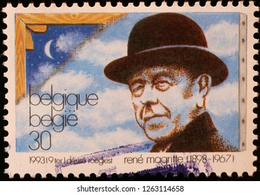 Milan, Italy – December 11 2018: René Magritte portrait on belgian postage stamp