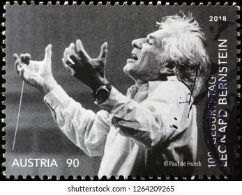 Milan, Italy – December 11, 2018: Leonard Bernstein on american postage stamp