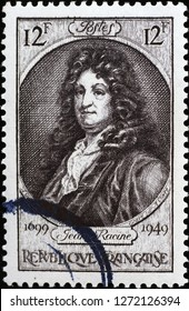 Milan, Italy – December 11, 2018: Ancient portrait of Jean Racine on postage stamp