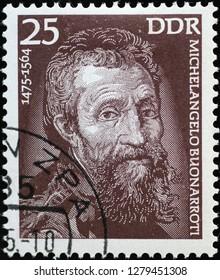 Milan, Italy – December 11, 2018: Portrait of Michelangelo on vintage german stamp