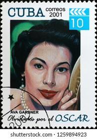 Milan, Italy – December 12 2018: Ava Gardner on cuban postage stamp