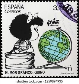 Milan, Italy – December 12 2018: Mafalda on spanish postage stamp