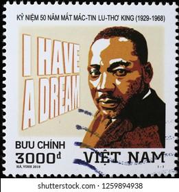 Milan, Italy – December 12 2018: Martin Luther King jr. on stamp of Vietnam