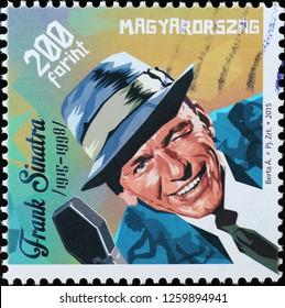 Milan, Italy – December 12 2018: Frank Sinatra portrait on stamp of Hungary