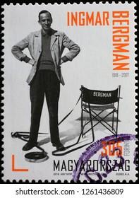Milan, Italy – December 12 2018: Film director Ingmar Bergman on postage stamp