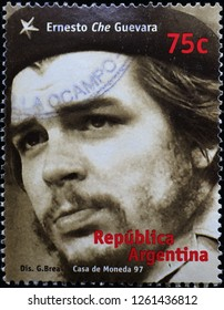 Milan, Italy – December 12 2018: Ernesto Che Guevara portrait on stamp of Argentina