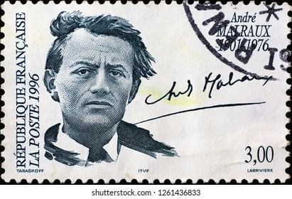 Milan, Italy – December 12 2018: Novelist André Malraux om french postage stamp