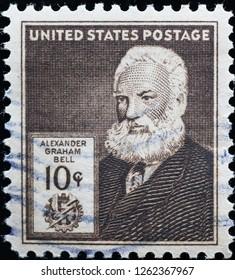 Milan, Italy – December 12, 2018: Alexander Graham Bell on vintage american postage stamp
