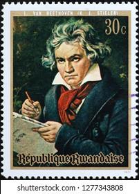 Milan, Italy – December 12, 2018: Portrait of Ludwig van Beethoven on postage stamp