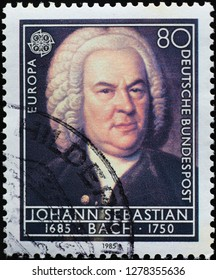 Milan, Italy – December 12, 2018: Portrait of Johann Sebastian Bach on german stamp