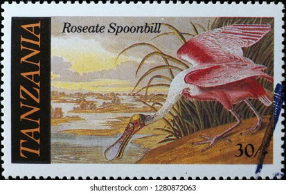 Milan, Italy – December 12, 2018: Roseate spoonbil painted by Audubon on postage stamp