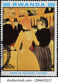 Milan, Italy – December 12, 2018: Old painting by Toulouse.Lautrec on postage stamp