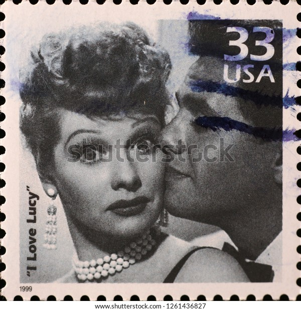 Milan, Italy – December 12 2018: Actress Lucille Ball on american postage stamp