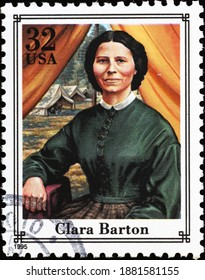 Milan, Italy - December 13, 2020: Clara Barton on american postage stamp