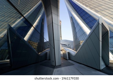 Milan, Italy - December 13, 2020: Milan, Italy: modern Citylife park with Libeskind and Hadid buildings