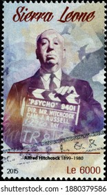 Milan, Italy - December 14, 2020: Alfred Hitchcock portrait on postage stamp