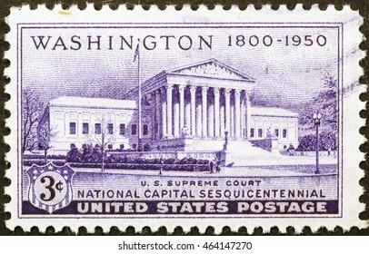 MIlan. Italy - December 16, 2014: Supreme court building on US postage stamp of 1950