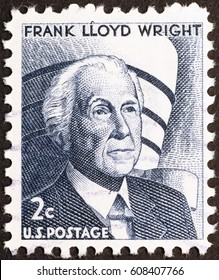 Milan, Italy - December 16, 2014: Frank Lloyd Wright on american postage stamp