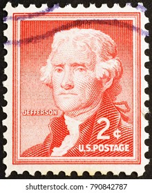Milan, Italy - December 16, 2014: Thomas Jefferson on old US postage stamp