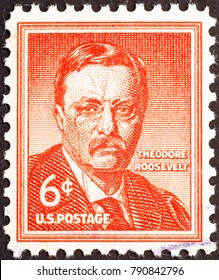 Milan, Italy - December 16, 2014: Theodore Roosevelt on old US postage stamp