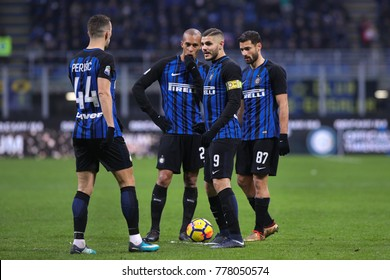 Milan, Italy,  december 16 2017: fc Inter players talks before free kick close to penalty area during football match FC INTER vs UDINESE, Italy League Serie A 2017/2018 17day, San Siro stadium
