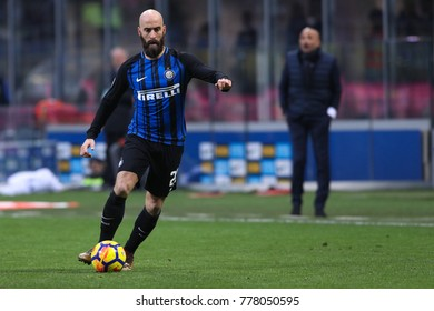 Milan, Italy,  december 16 2017: Borja Valero dribbles on the left side during football match FC INTER vs UDINESE, Italy League Serie A 2017/2018 17day, San Siro stadium