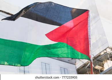 MILAN, ITALY - DECEMBER 16: Detail of Palestinian flag during a protest against Jerusalem capital of Israel in solidarity with Palestinians on DECEMBER 16, 2017 in Milan.