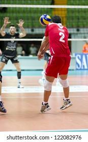 MILAN, ITALY - DECEMBER, 16: Pieri ( red, Volley Monza)  during A2M   Vero Volley Monza - Caff Aiello Corigliano   on december 16 , 2012 in Milan, Italy