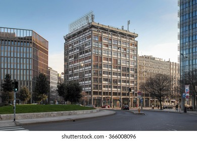 MILAN, ITALY - DECEMBER 18, 2015: Buildings in the central part of Milan, Italy.