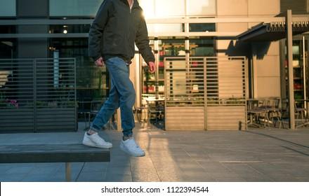 Milan, Italy - December 20, 2017: Man wearing a pair of Nike Air Force