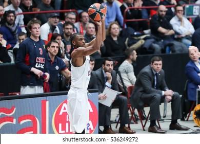 Milan, Italy, december 2016: Higgins Cory during basketball match between EA7 Emporio Armani Milan vs CSKA Moscow EuroLeague 2017 Mediolanum Forum Milan december 8 2016
