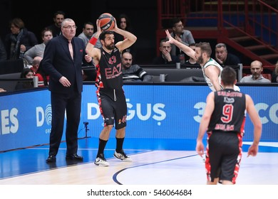 Milan, Italy, december 2016: Simon Krunoslav during basketball match between EA7 Emporio Armani Milan vs Panathinaikos Superfoods Athens, EuroLeague 2017 Mediolanum Forum Milan december 21 2016