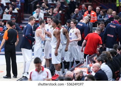 Milan, Italy, december 2016: Team CSKA Moscow during basketball match between EA7 Emporio Armani Milan vs CSKA Moscow EuroLeague 2017 Mediolanum Forum Milan december 8 2016