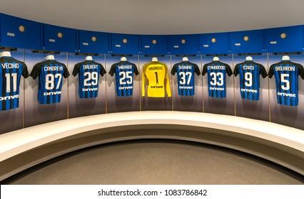 Milan, Italy - December 2017: Changing room of FC Inter at San Siro stadium