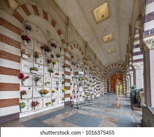 Milan, Italy - December 2017: in the columbarium at Monumental Cemetery of the city