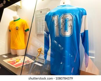 Milan, Italy - December 2017: Diego Maradona shirt at the expisition in San Siro stadium museum