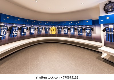 Milan, Italy - December 2017: at the FC Inter part of San Siro stadium. In the changing room