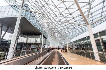 Milan, Italy - December 2017: Fiera Milano - huge trade fair and exhibition center