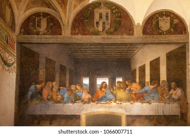 Milan, Italy - December 2017: The Last Supper masterpiece by Leonardo da Vinci in Santa Maria delle Grazie church