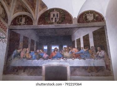 Milan, Italy - December 2017: The Last Supper by Leonardo Da Vinci at Santa Maria delle Grazie church
