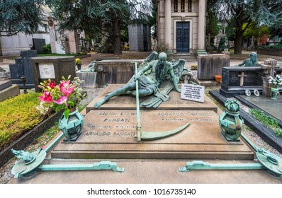 Milan, Italy - December 2017: tomb with the Death image at the Monumental cemetery of the city