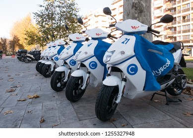 MILAN, ITALY - DECEMBER, 2018: Cityscoot sharing station.