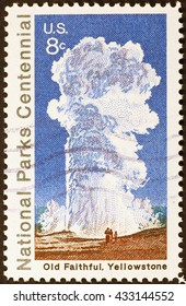 Milan, Italy - December 21, 2013: Old faithful of Yellowstone celebrated in a postage stamp
